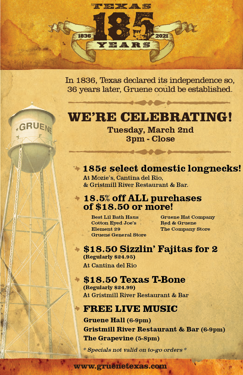 2nd Annual Texas Independence Day Celebration with Special offers and events